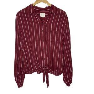 American Eagle Burgundy Striped  Waist Tie Blouse
